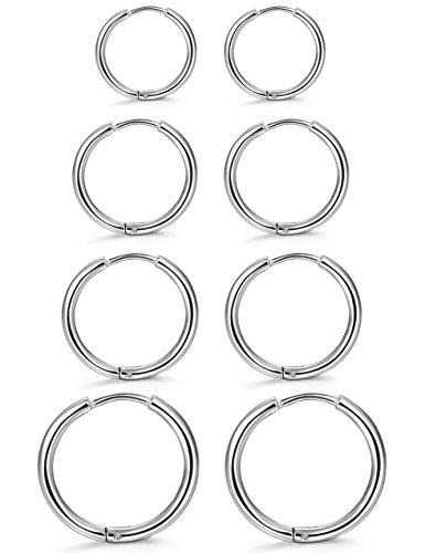 (ORAZIO 4 Pairs Stainless Steel Hoop Earrings Set Huggie Earrings for Women,10MM-16MM)