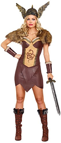 Dreamgirl Women's Voracious Viking Costume, Brown/Beige, Large ()