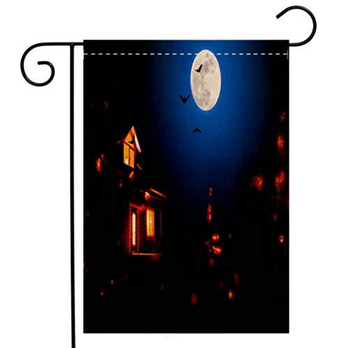 BEIVIVI Custom Double Sided Seasonal Garden Flag Haunted House in The Halloween Night Garden Flag Waterproof for Party Holiday Home Garden Decor]()