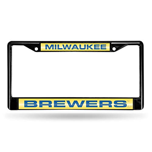 Rico Milwaukee Brewers Official MLB 12 inch x 6 inch Metal License Plate Frame Industries