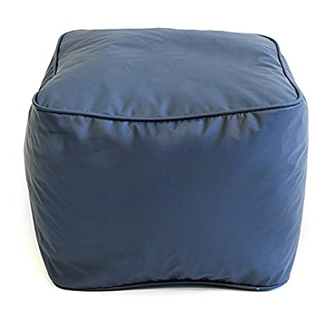 Single Piece Navy Blue Square Shape Small Ottoman Solid Furniture Pattern,  Leather Synthetic Vinyl Material