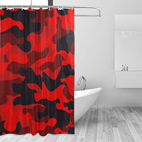 (KVMV Shower Curtain Camouflage Military Background Camo Bright Red Waterproof Fabric Bathroom Curtains Thick Bathtub Decor Set with Hooks 47