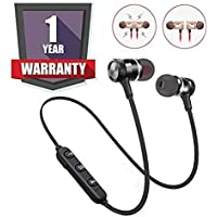 Bluetooth Earphone with Mic and Sound Control for All Smartphones and Powerful Bass
