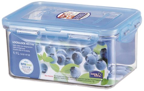 LOCK & LOCK LBF815D 4.6 Cups Bisfree Rectangular Container, Clear (Lock & Cup Lock Rectangular)