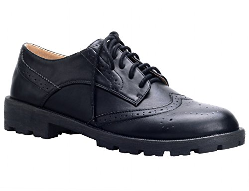 MaxMuxun Black Faux Leather Durale Sole Closed Toe Wingtip Women's Dress Oxford Flats Size 8
