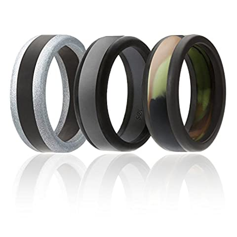 Silicone Wedding Ring For Men By SOL Rings (Power X Series), 3 Pack Silicone Rubber Wedding Band, Camo, Black, Grey, Silver - size 11 - Diamond Ring: Platinum Diamond Band