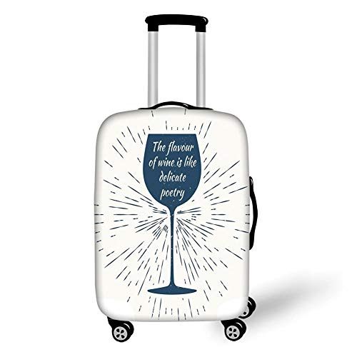 Travel Luggage Cover Suitcase Protector,Wine,Wine Glass and Vintage Sun Burst Frame The Flavor is Like Delicate Poetry Quote Decorative,Night Blue White,for TravelS 19x27.5Inch