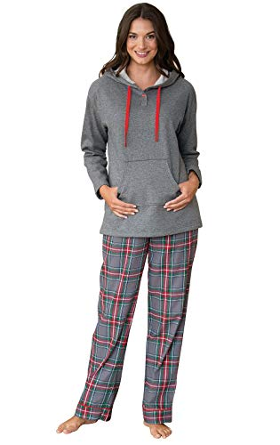 PajamaGram Womens Pajamas Soft Cotton - Winter Pajamas for Women, Gray, XS, 2-4