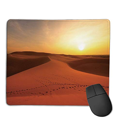 Mouse Pad pad Customized Rectangle Non-Slip Rubber Mousepad,Desert,Footprints on Sand Dunes at Sunrise Hot Dubai Landscape Travel Destination,Dark Orange Yellow,Consoles More Enjoy Precise & Smooth ()