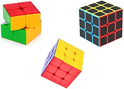 SHANBUYERS High Speed 2X2, 3X3 Carbon Fiber Neon Puzzle Brainstorming Game Magic Rubik Cubes Combo (Multicolour) - Set of 3