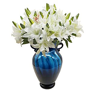cn-Knight Artificial Flower 6pcs 22'' Silk Lily Spray Long Stem Lilium with 2 Blossoms and 1 Bud Faux Flower for Wedding Bridal Bouquet Bridesmaid Home Décor Office Baby Shower Centerpiece(White) 41