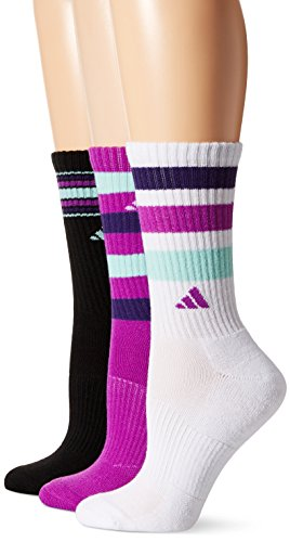 adidas Womens Cushioned Crew Socks (3 Pack), White/Black/Shock Purple/Unity Purple/Ice Green, One Size