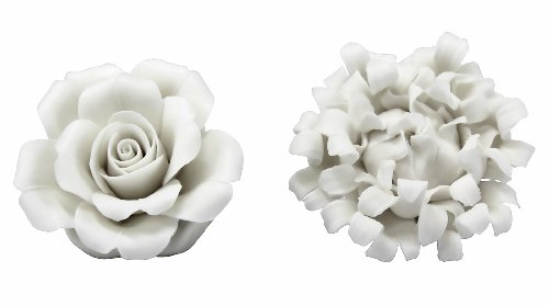 SILVESTRI White Porcelain Rose & Peony Place Card Holders
