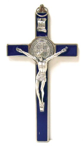 Saint Benedict Crucifix - All Metal with Inlaid Enamel and Silver Color Corpu... - Metal Crucifix