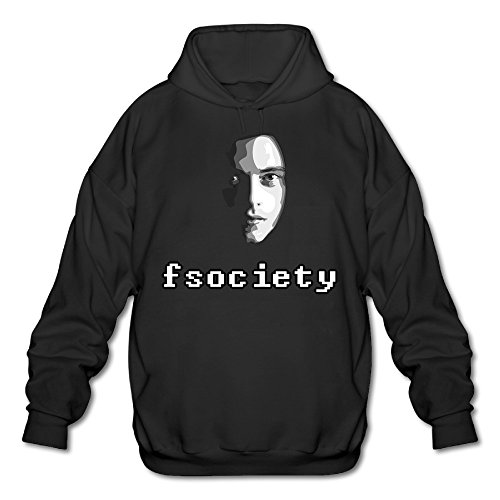 PHOEB Mens Sportswear Drawstring Hoodies Outwear Jacket,Mr Robot Fsociety Black Small