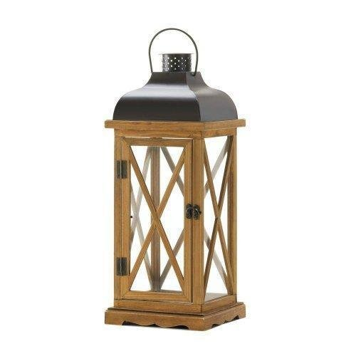 X-Frame Wood Candle Lantern - 20.5 inches by Gallery of Light (Image #1)