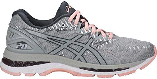 ASICS T850N Women's Gel-Nimbus 20 Running Shoe, Mid Grey/Mid Grey/Seashell Pink - 8.5 B(M) US by ASICS