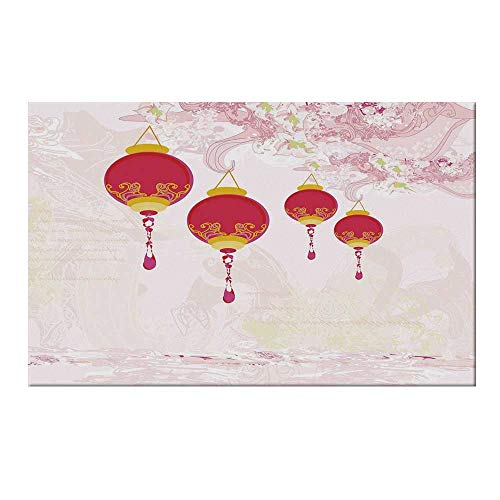YOLIYANA Lantern Durable Door Mat,New Year of Chinese Calendar Celebrations Eastern Imagery Abstract Asian Art Decorative for Home Office,17.7