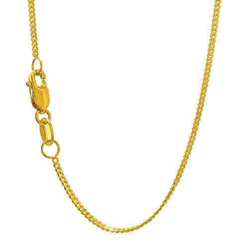 (JewelStop 14k Solid Yellow Gold 1 mm Gourmette Chain Necklace, Lobster Claw Clasp - 18