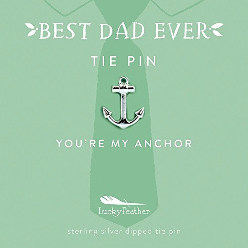 "Lucky Feather BEST DAD EVER"" Father's Day Gift tie pin, Anchor Tie Pin Sterling silver dipped Mint Green Card: ""You're My Anchor"" by Lucky Feather"
