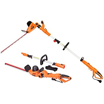 GARCARE 4.8A Multi-Angle Corded 2 in 1 Pole and Portable Hedge Trimmer with 20 Inch Laser Blade