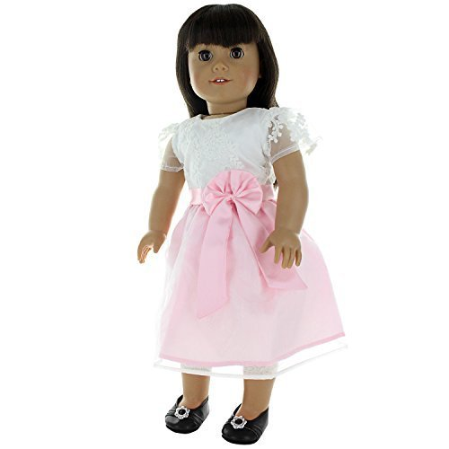Doll Clothes - Beautiful White and Pink Crochet Dress Outfit Fits American Girl Doll, My Life Doll and 18 inch Dolls