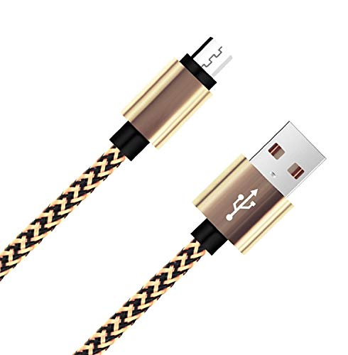 """Amazon Kindle Cable Fire 10ft Micro USB Cable,Myckuu High Speed USB 2.0 Cable For Amazon Kindle Fire, HD, HDX,8.9"""", Kindle Paperwhite,Voyage, works with all Micro-USB Tablets(black gold white)"""