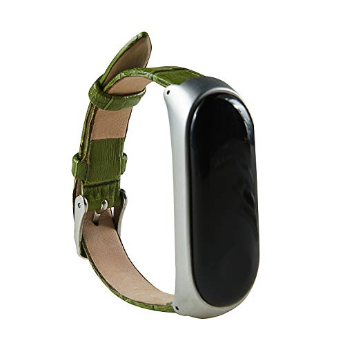 For Xiaomi Miband 3 Bands Strap Replacement Soft (Crocodile pattern) Leather Strap Wristband WatchBand With Stainless Steel Metal Frame Accessories For Xiaomi Mi Band 3 Fitness Tracker (Green)