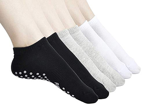 Womens Yoga Socks, Non Slip Skid Sport Short Low Cut Casual Cotton Socks Black+Grey+White