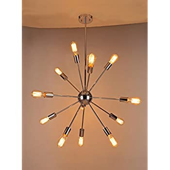 Sputnik Style Chandelier: Deking 12 Lights Pendant Light Silver Modern Satellite Style Sputnik  Chandelier Chrome Finish Industrial Light Fixture for Residential Use  Without Bulbs,Lighting