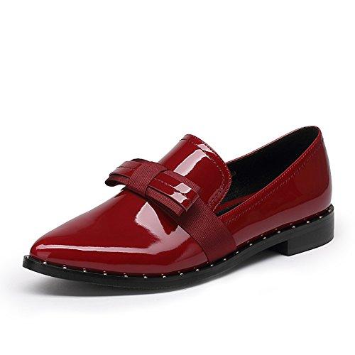 Coreano señaló zapatos bajos en el otoño/ mujeres bajo zapatos/Rojo casual zapatos de charol moño vino B