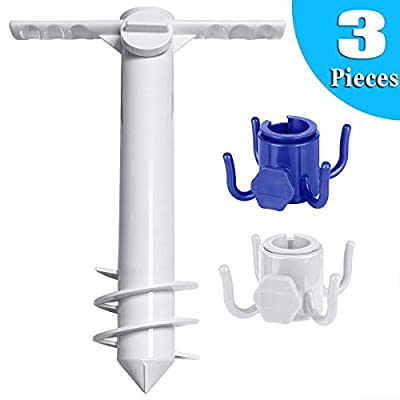 HULISEN Heavy Duty Beach Umbrella Sand Anchor, Umbrella Holder Stand, Beach Umbrella Set with 2pcs 4-prongs Beach Umbrella Hanging Hook (White) : Garden & Outdoor