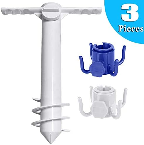 HULISEN Heavy Duty Beach Umbrella Sand Anchor, Umbrella Holder Stand, Beach Umbrella Set with 2pcs 4-prongs Beach Umbrella Hanging Hook White
