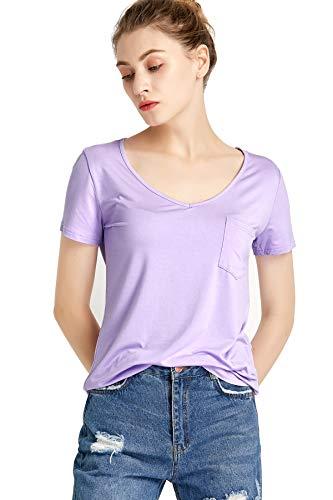 Boyfriend Light T-shirt - LUFENG Women's Casual V Neck T-Shirt Short Sleeve High Low Tunic Loose Blouse Tops with Pocket Light Purple