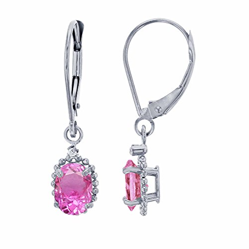 10K White Gold 1.25mm Round Created White Sapphire & 6x4mm Oval Created Pink Sapphire Bead Frame Drop Leverback Earring Carats Ruby Sapphire Beads