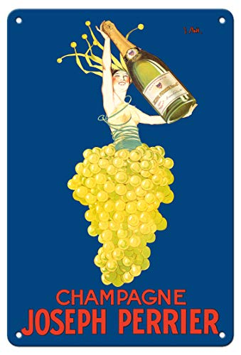 - Pacifica Island Art 8in x 12in Vintage Tin Sign - Champagne Joseph Perrier - French Woman Emerging from Chardonnay Grapes by J. Stall