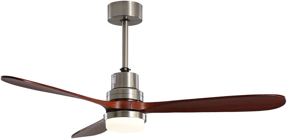 Ceiling Fan with Light, KAISITE 52-Inch Modern LED Ceiling Fan Light Kit with Remote Control and 3 Walnut Wooden Blades, Ceiling Fan with 15W LED Light(Dimmable) For Bedroom. (Brushed Nickel)