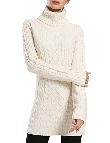 Sweater Cable Cashmere (Rocorose Women's Casual Cable Knitted Sweater Long Sleeves Pullover Apricot L)