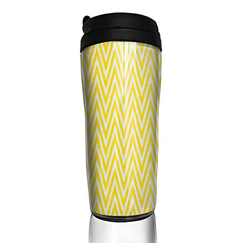 coffee cups warmer Yellow Chevron,Thin Yellow and White Chevron Stripes Retro Pattern in Contemporary Design, Yellow White 12 oz,black coffee cup holders for counter