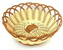 - Natural and Brown Color Poly Woven Bread Basket (Round 8.75