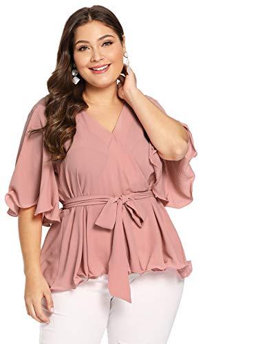 Romwe Women's Plus Size Flutter Sleeve V Neck Knot Belted Surplice Wrap Blouse Pink 1X Plus