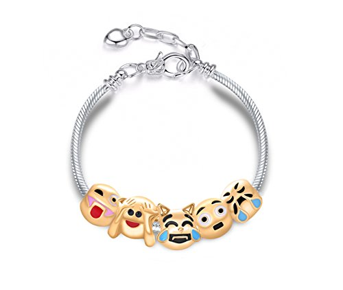 Eliana and Eli Jewelry Emotions Emoji Cat Smiley Pick-a-boo Slide Charm Adjustable Bracelet Party Favors (Heart Shaped Bracelet Slide)