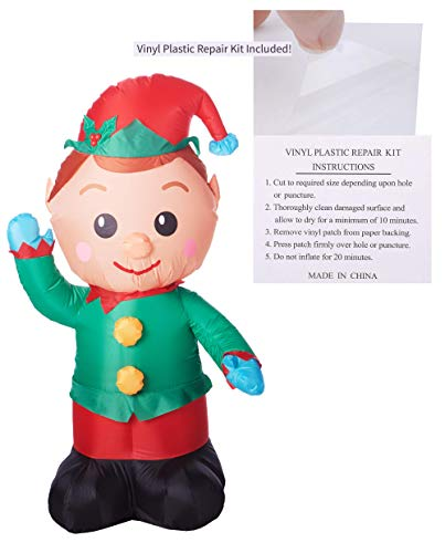 Inflatable and Christmas Light Bulb Stickers Or Repair Patch Set, Holiday Outdoor or Indoor Decorations, Cute Yard Decoration for Christmas, Ideas (Elf with Patch Kit)