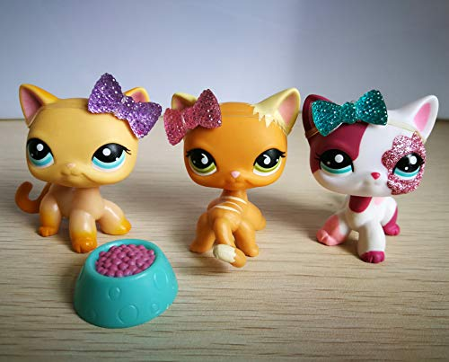 LPSONE LPS Shorthair Cat 525 339 2291 Yellow Pink Siamese Kitty Kitten Lot with Accessories Lot Collection Toy Figure Girls Boys Xmas Gift
