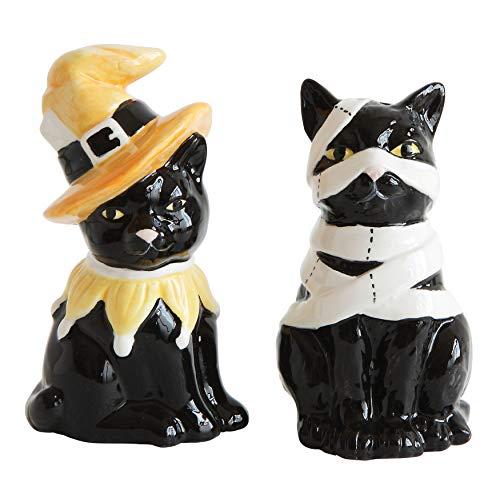 Creative Co-Op HX1740 Ceramic Halloween Cat Salt/Pepper Shakers, Black