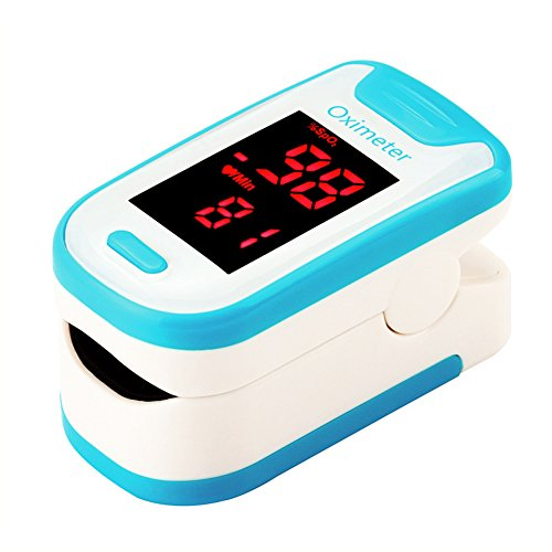 Fingertip Pulse Oximeter Oximetry Blood Oxygen Saturation Monitor with Batteries and Lanyard(Blue)