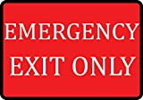 Red Emergency Exit Only Sign - Business Fire Signs - Aluminum Metal 4 Pack