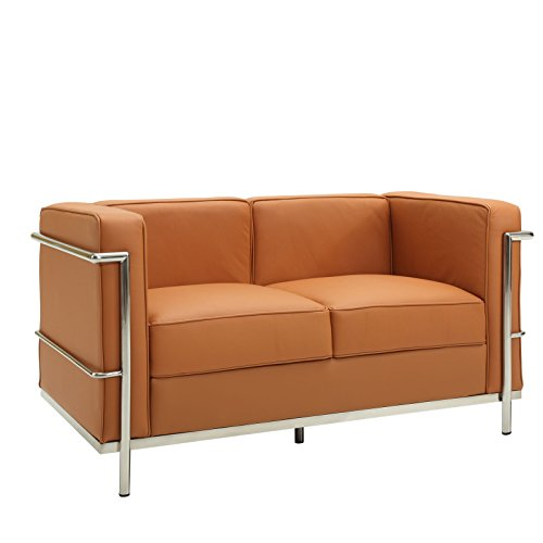 Modway Le Corbusier Style LC2 Loveseat in Tan Genuine Leather