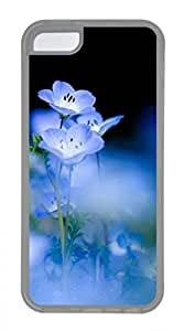 Blue Flowers 2 Customized Popular DIY Hard Back Case Cover For iPhone 5C Transparent