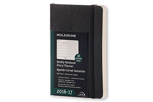 Moleskine Wochen Notizkalender, Taschenkalender, 18 Monate, 2016/2017, Pocket, A6, Soft Cover, schwarz
